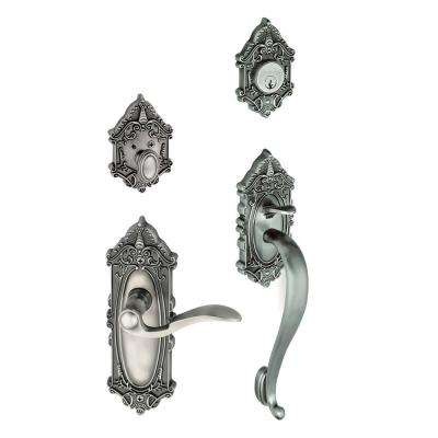 Grande Victorian Single Cylinder Antique Pewter S-Grip Handleset with Left Handed Bellagio Lever