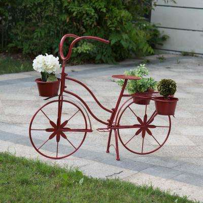 5.7 in. L x 5.7 in. W x 3.7 in. H Red Metal Distressed Bike Planter