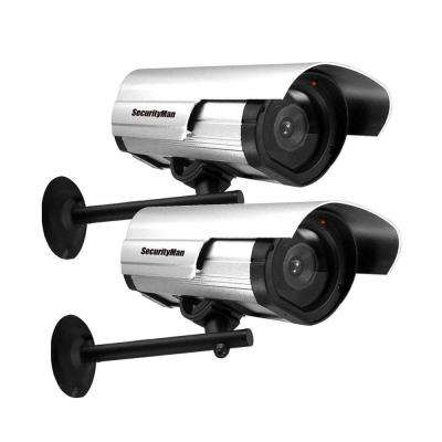 Indoor/Outdoor Dummy Security Camera with LED (2-Pack)
