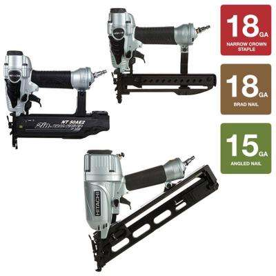 3-Piece 2-1/2 in. x 15-Gauge Angled Finish Nailer, 18-Gauge x 2 in. Finish Nailer and 1/4 in. Narrow Crown Stapler Kit