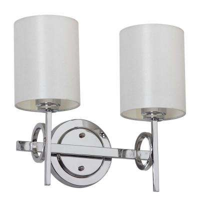 Ventura 2-Light Chrome Sconce with Off-White Shade