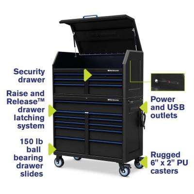 24 in. x 46 in. 17-Drawer Tool Chest and Cabinet Combo with Power and USB Outlets in Black and Blue
