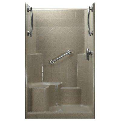 48 in. x 37 in. x 80 in. 1-Piece Low Threshold Shower Stall in Cotton Seed, Grab Bars, L-Seat, Center Drain