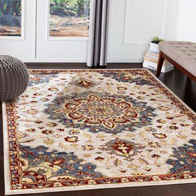 Helene Burgundy 7 ft. 10 in. x 10 ft. 3 in. Medallion Area Rug