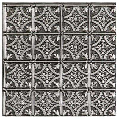 Valencia 2 ft. x 2 ft. Lay-in or Glue-up Ceiling Tile in Antique Silver (48 sq. ft. / case)