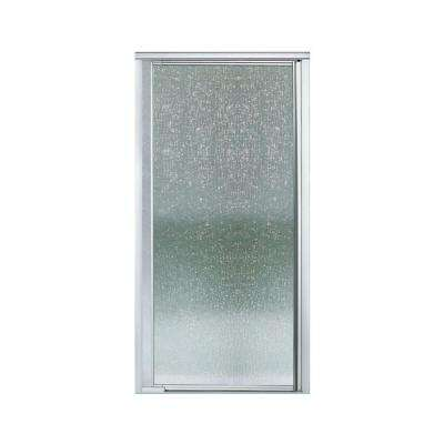 Vista Pivot II 36 in. x 65-1/2 in. Framed Pivot Shower Door in Silver with Rain Glass Texture