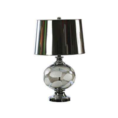 24.5 in. Silver and White Patterned Glass with Chrome Metal Table Lamp-DISCONTINUED