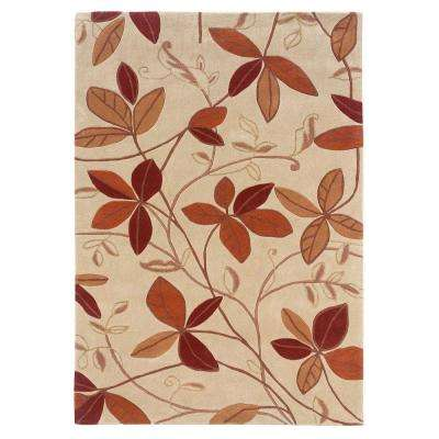 Trio Collection Tan and Rust 5 ft. x 7 ft. Indoor Area Rug
