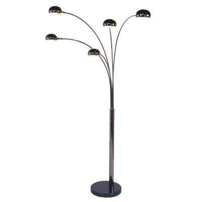 Mushroom 85 in. Black Nickel Arc Lamp with 5-Lights