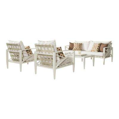 Knoxville Cream 4-Piece Aluminum Patio Seating Set with Moroccan Cream Cushions