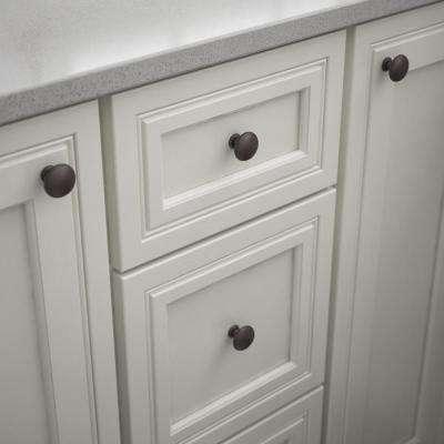 Essentials 1-1/4 in. (32 mm) Dark Oil Rubbed Bronze Round Ringed Cabinet Knob (25-Pack)