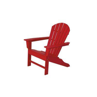 South Beach Sunset Red Patio Adirondack Chair
