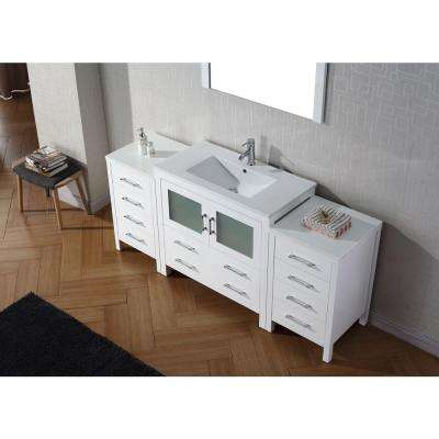 Dior 73 in. W Bath Vanity in White with Ceramic Vanity Top in Slim White Ceramic with Square Basin and Mirror and Faucet