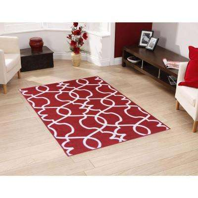 Rose Collection Contemporary Geometric Trellis Design Red 5 ft. x 7 ft. Non-Skid Area Rug