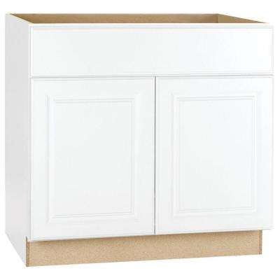 Hampton Bay Hampton Assembled 36x34.5x24 inch Sink Base Kitchen Cabinet in Satin White