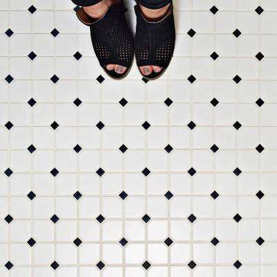 Metro Broadway Matte White with Black Dot 11-3/4 in. x 11-3/4 in. x 6 mm Porcelain Mosaic Tile
