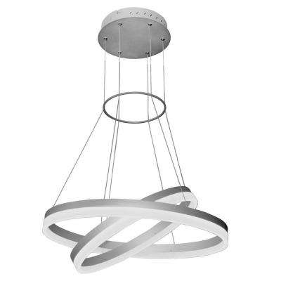 Tania Duo Collection 24 in. Silver Integrated LED Adjustable Modern 2-Tier Circular Chandelier