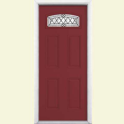 36 in. x 80 in. Halifax Camber Fan Lite Painted Smooth Fiberglass Prehung Front Door with Brickmold in Vinyl Frame