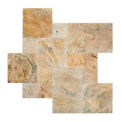 Tuscany Scabas Pattern 16 sq. ft. Tumbled Travertine Paver Kit (10 Kits / 160 sq. ft. / Pallet)