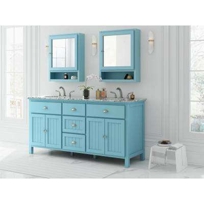 Ridgemore 71 in. W x 22 in. D Vanity in Sea Glass with Granite Vanity Top in Grey with White Sink