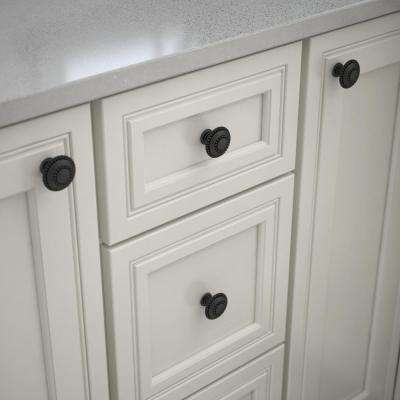 Double Beaded 1-3/8 in. (35mm) Matte Black Round Cabinet Knob