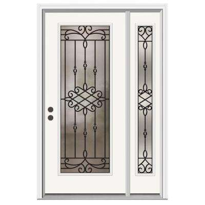 52 in. x 80 in. Full Lite Sanibel Primed Steel Prehung Right-Hand Inswing Front Door with Right-Hand Sidelite