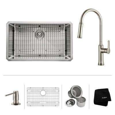 All-in-One Undermount Stainless Steel 30 in. Single Bowl Kitchen Sink with Faucet and Accessories in Stainless Steel