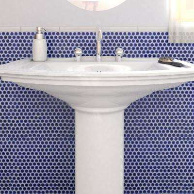 Hudson Penny Round Cobalt 12 in. x 12-5/8 in. x 5 mm Porcelain Mosaic Tile (10.74 sq. ft. / case)
