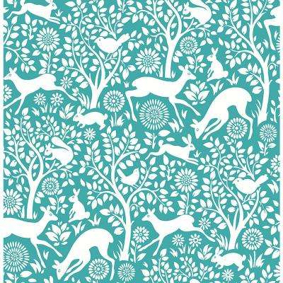 8 in. x 10 in. Meadow Teal Animals Wallpaper Sample