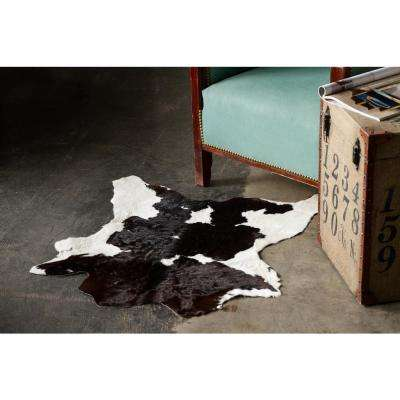 Natural Black and White 2 ft. x 3 ft. Calfskin Area Rug