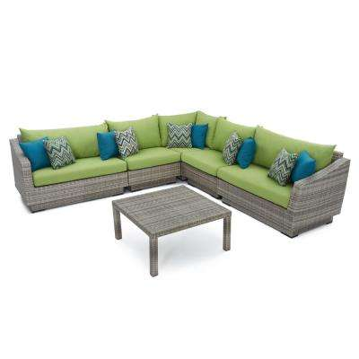 Cannes 6-Piece Patio Corner Sectional Set with Ginkgo Green Cushions
