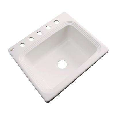 Rochester Drop-In Acrylic 25 in. 5-Hole Single Basin Kitchen Sink in Natural