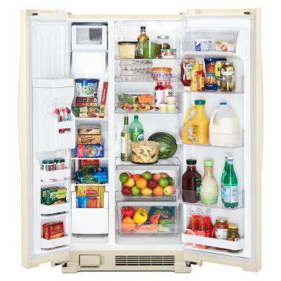 36 in. 24.6 cu. ft. Side by Side Refrigerator in Biscuit
