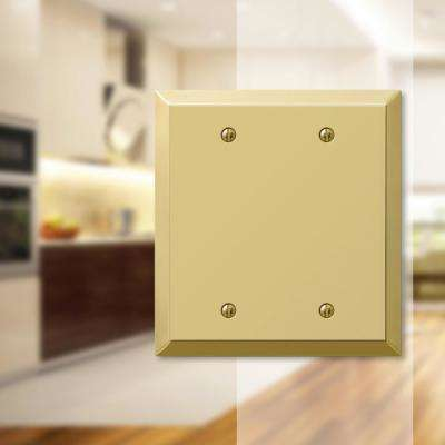 Metallic 2 Gang Blank Steel Wall Plate - Polished Brass