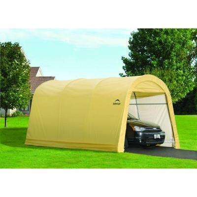 10 ft. W x 15 ft. D x 8 ft. H Steel and Polyethylene Garage without Floor in Sandstone with Corrosion-Resistant Frame