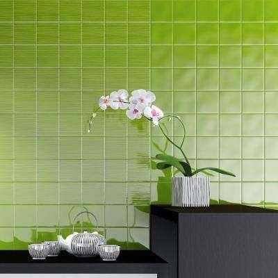 Twist Square Green Kiwi 3-7/8 in. x 3-7/8 in. Ceramic Wall Tile