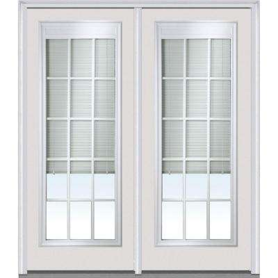 Classic Clear Low-E Glass 15 Lite Fiberglass Smooth Prehung Left-Hand Inswing RLB GBG Patio Door