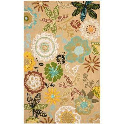 Four Seasons Taupe/Multi 3 ft. 6 in. x 5 ft. 6 in. Indoor/Outdoor Area Rug