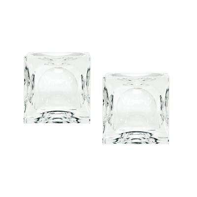 2 in. Dimpled Crystal Cubes Candle Holders (Set of 2)