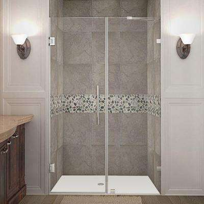 Nautis 48 in. x 72 in. Frameless Hinged Shower Door in Chrome with Clear Glass