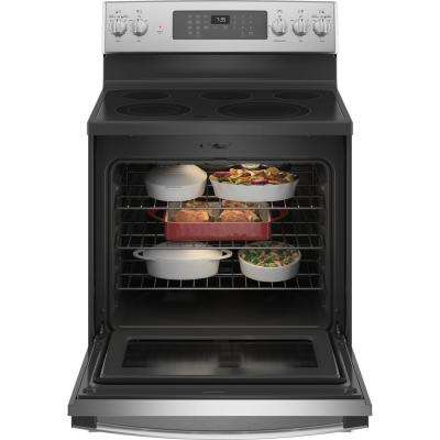 30 in. 5.3 cu. ft. Electric Range with Self-Cleaning Convection Oven and Air Fry in Stainless Steel