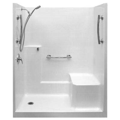 Ultimate-SA 36 in. x 60 in. x 77 in. 1-Piece Low Threshold Shower Stall in White, Shower Kit, Molded Seat, Left Drain