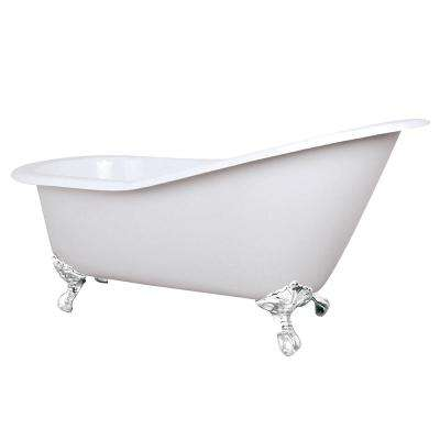5 ft. Cast Iron Slipper Clawfoot Non-Whirlpool Bathtub in White