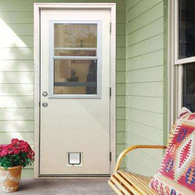 32 in. x 80 in. Classic Clear Vented Half Lite LHOS White Primed Fiberglass Prehung Back Door with Small Cat Door