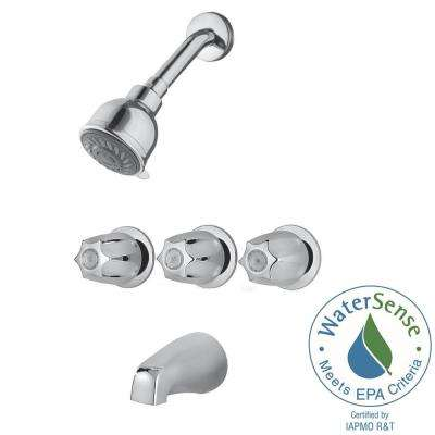 3-Handle 3-Spray Tub and Shower Faucet in Polished Chrome
