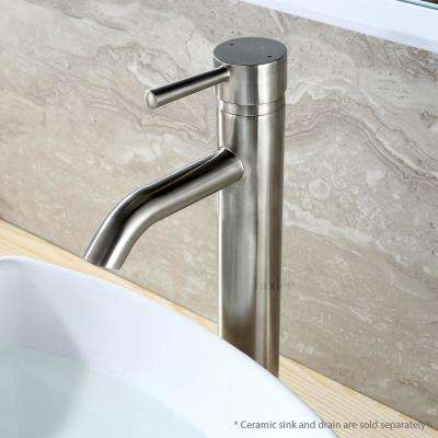 Single Hole Single-Handle Vessel Bathroom Faucet in Brushed Nickel with Pop-Up