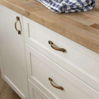 Step Edge 3 or 3-3/4 in. (76 or 96mm) Center-to-Center Tumbled Antique Brass Drawer Pull