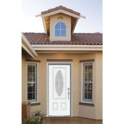 36 in. x 80 in. 3/4 Oval Lite Kingston Primed Fiberglass Prehung Left-Hand Inswing Front Door w/Brickmould