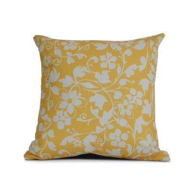 16 in. Evelyn Floral Print Pillow in Yellow