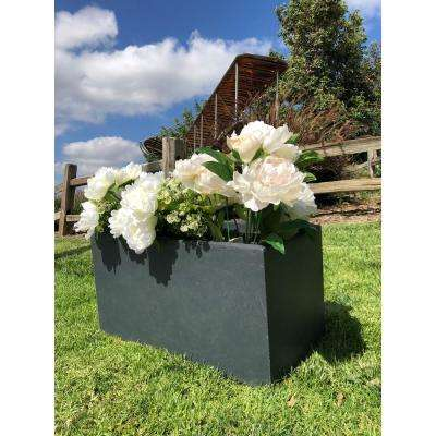Large 31.1 in. x 14.6 in. x 14.8 in. Granite Lightweight Concrete Modern Long Low Planter